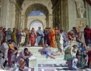 "Aristotle depicted in Raphael's famous painting, ""School of Athens"""